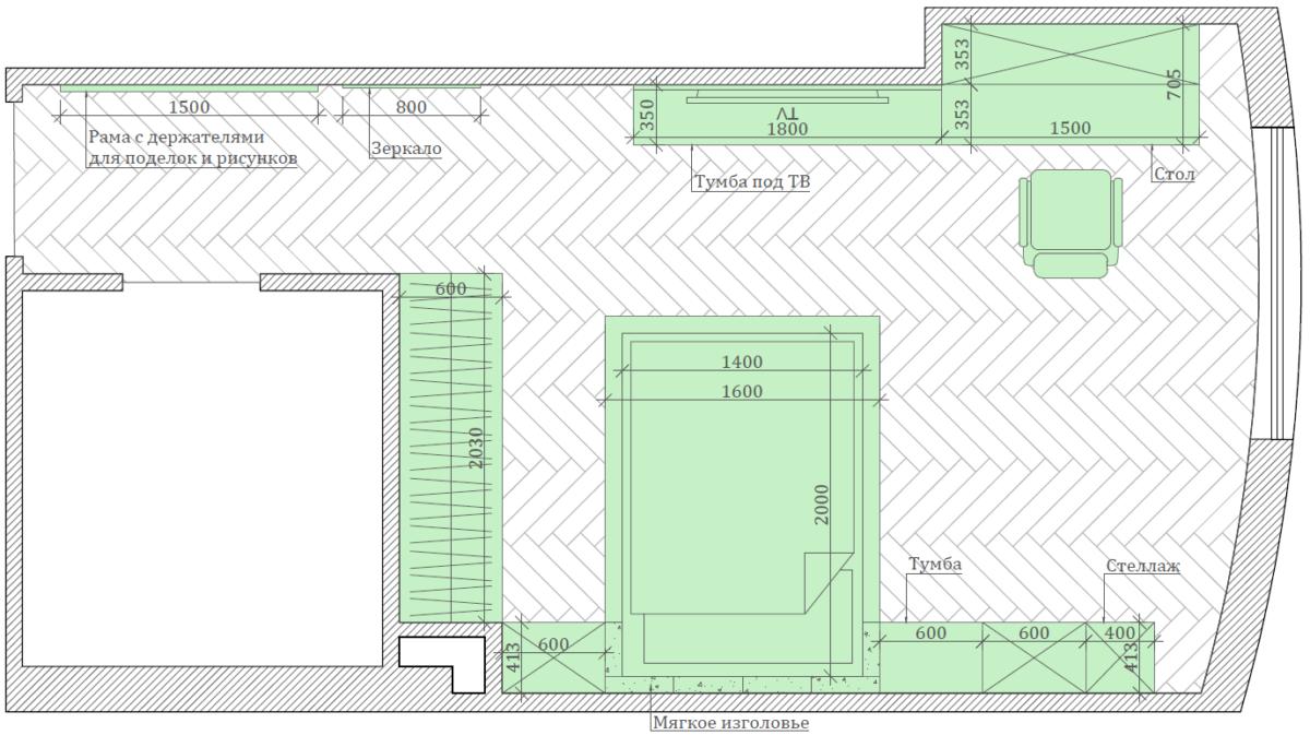 Мебель детской комнаты для девочки-школьницы проект 3847-5