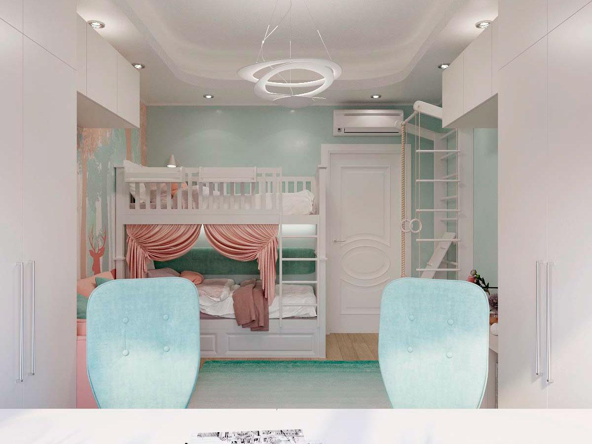Мебель детской комнаты для двух девочек проект 3229-1
