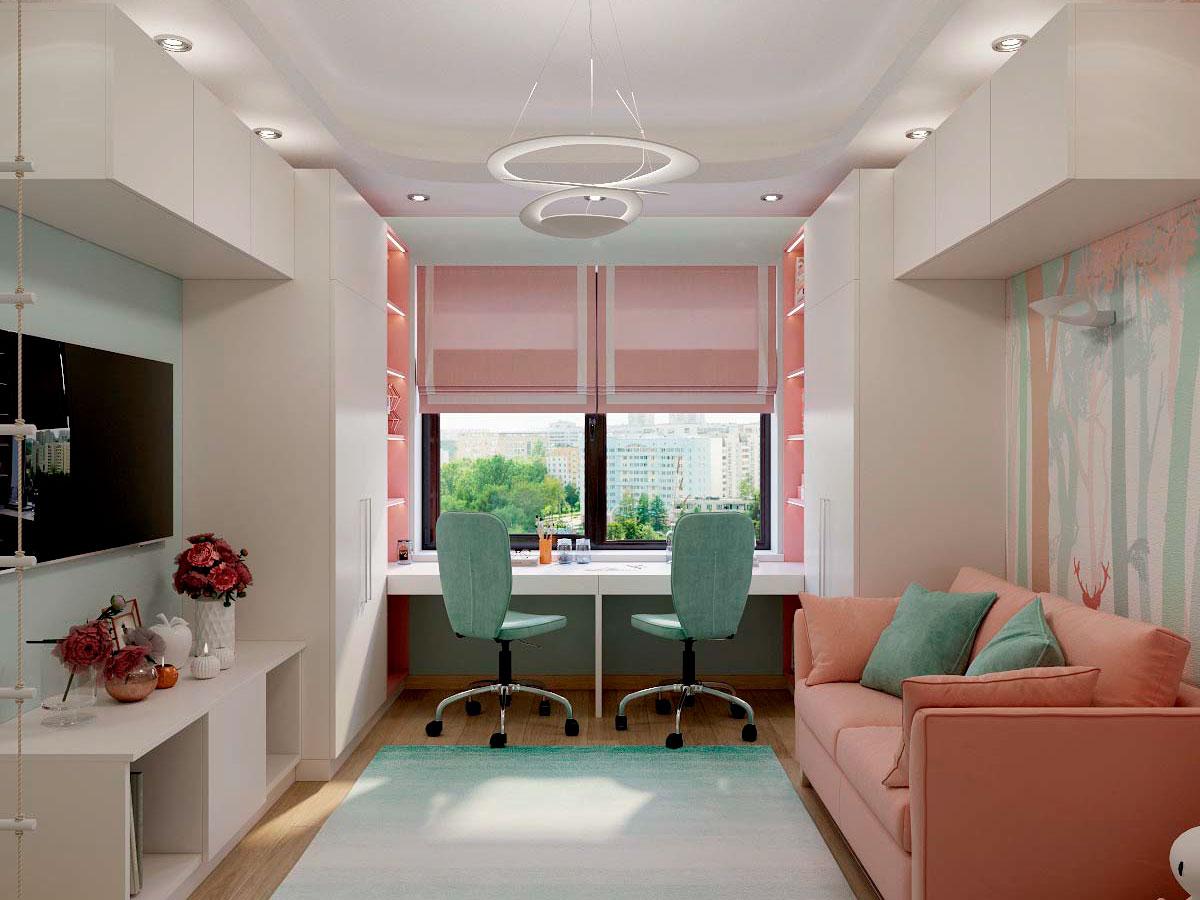 Мебель детской комнаты для двух девочек проект 3229-2