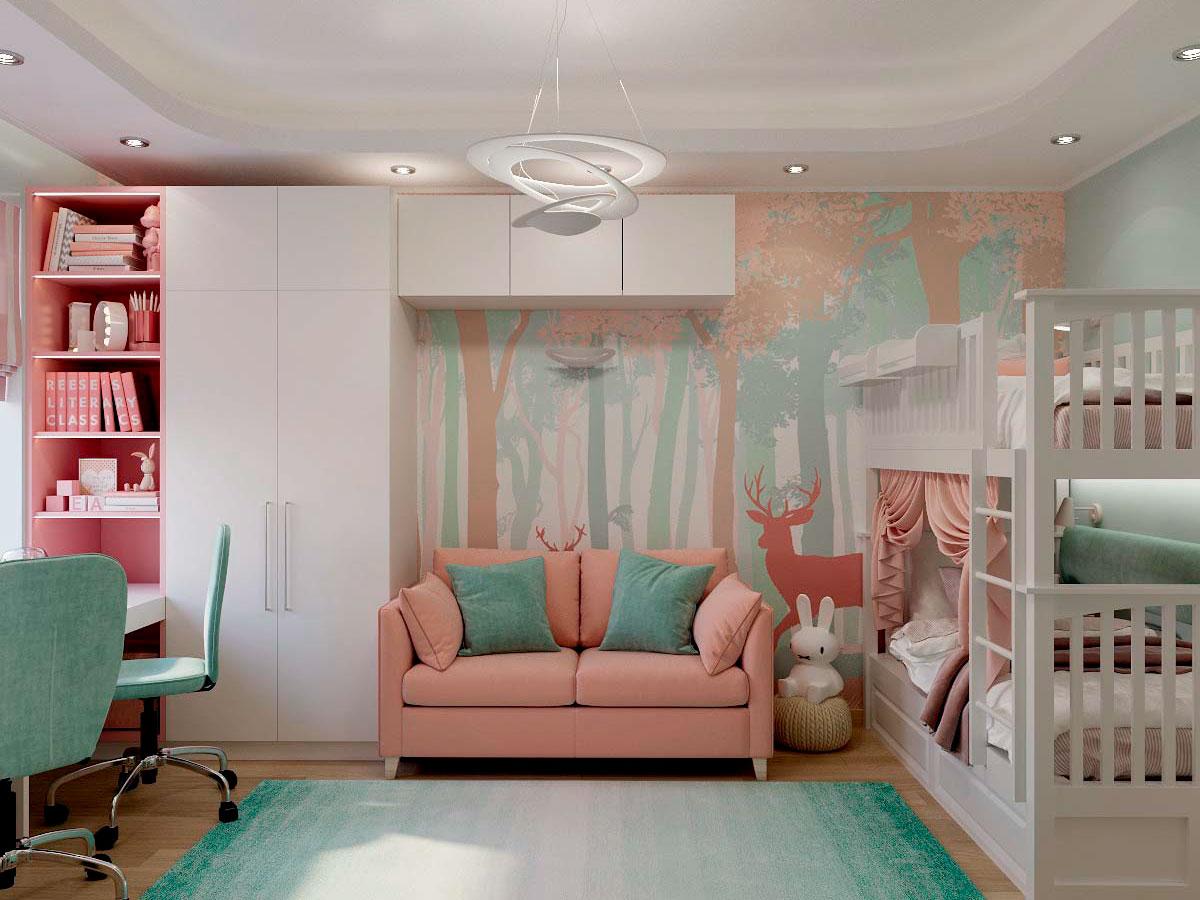 Мебель детской комнаты для двух девочек проект 3229-3