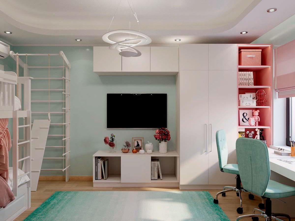 Мебель детской комнаты для двух девочек проект 3229-4