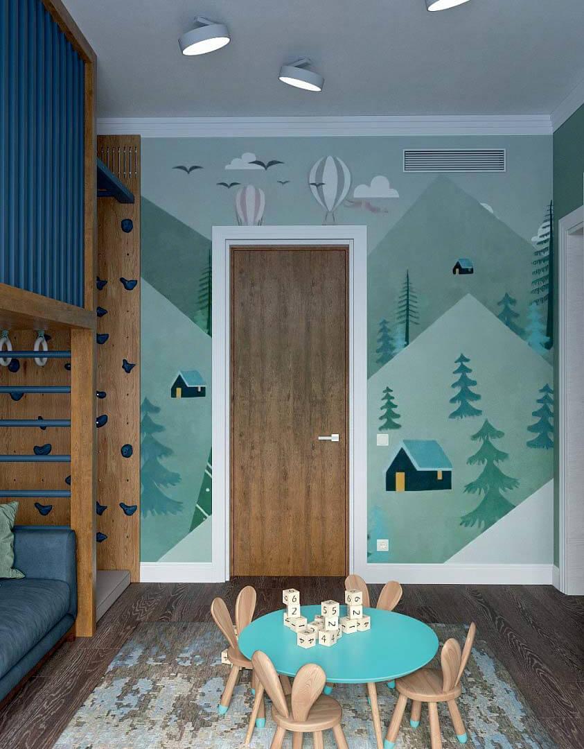 Мебель детской комнаты для мальчика 6 лет проект 3741-1