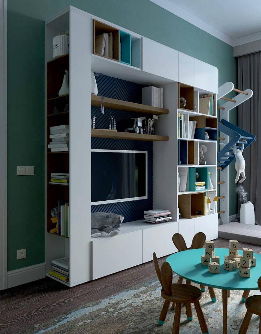 Мебель детской комнаты для мальчика 6 лет проект 3741-10
