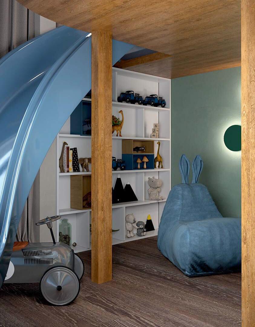 Мебель детской комнаты для мальчика 6 лет проект 3741-11