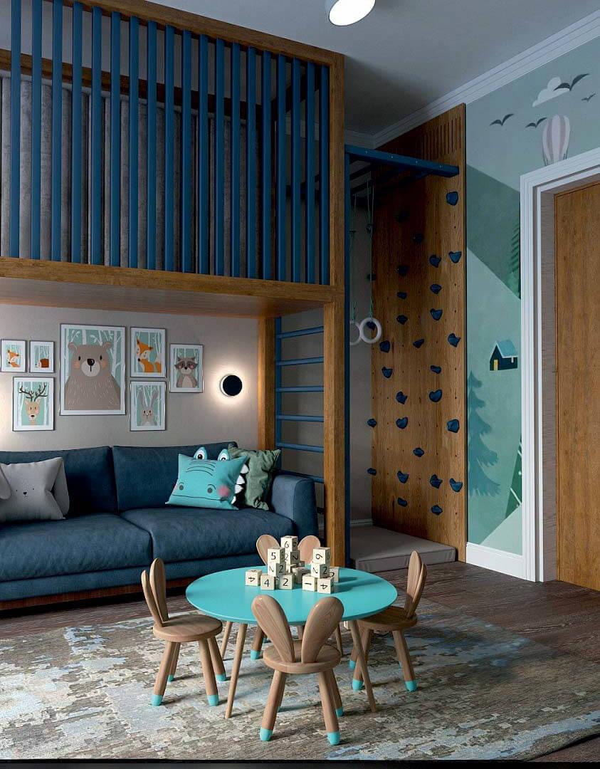 Мебель детской комнаты для мальчика 6 лет проект 3741-12