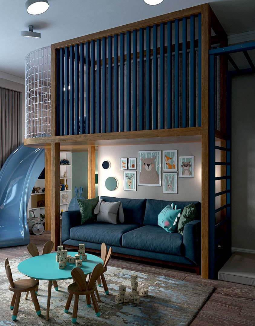 Мебель детской комнаты для мальчика 6 лет проект 3741-2