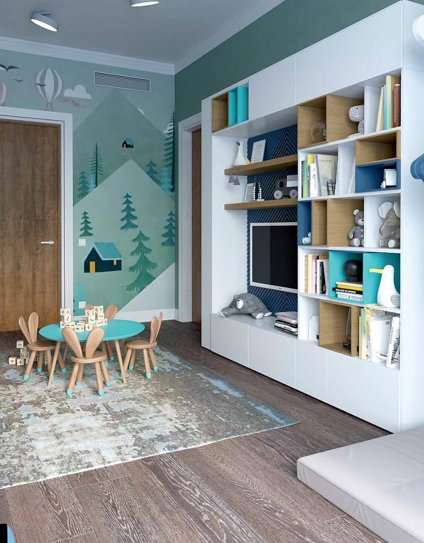 Мебель детской комнаты для мальчика 6 лет проект 3741-3