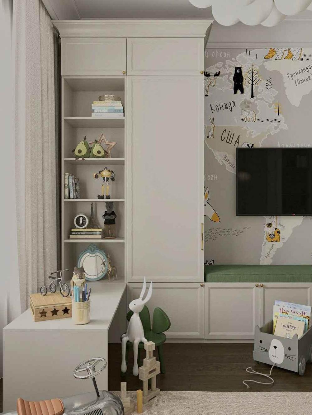 Мебель детской комнаты мальчика 3-10 лет проект 5097-3
