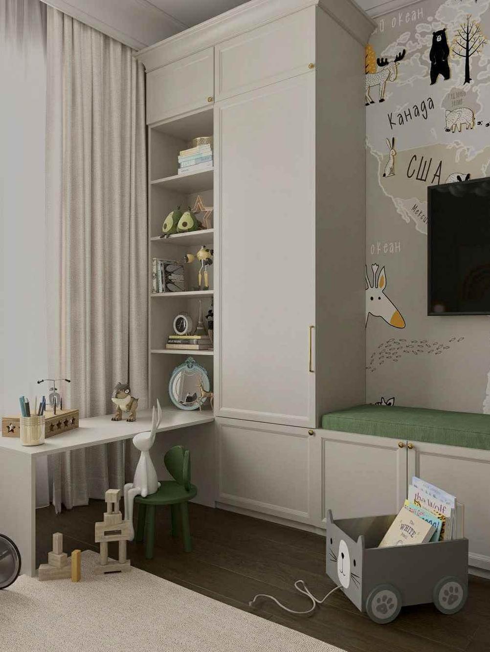 Мебель детской комнаты мальчика 3-10 лет проект 5097-6