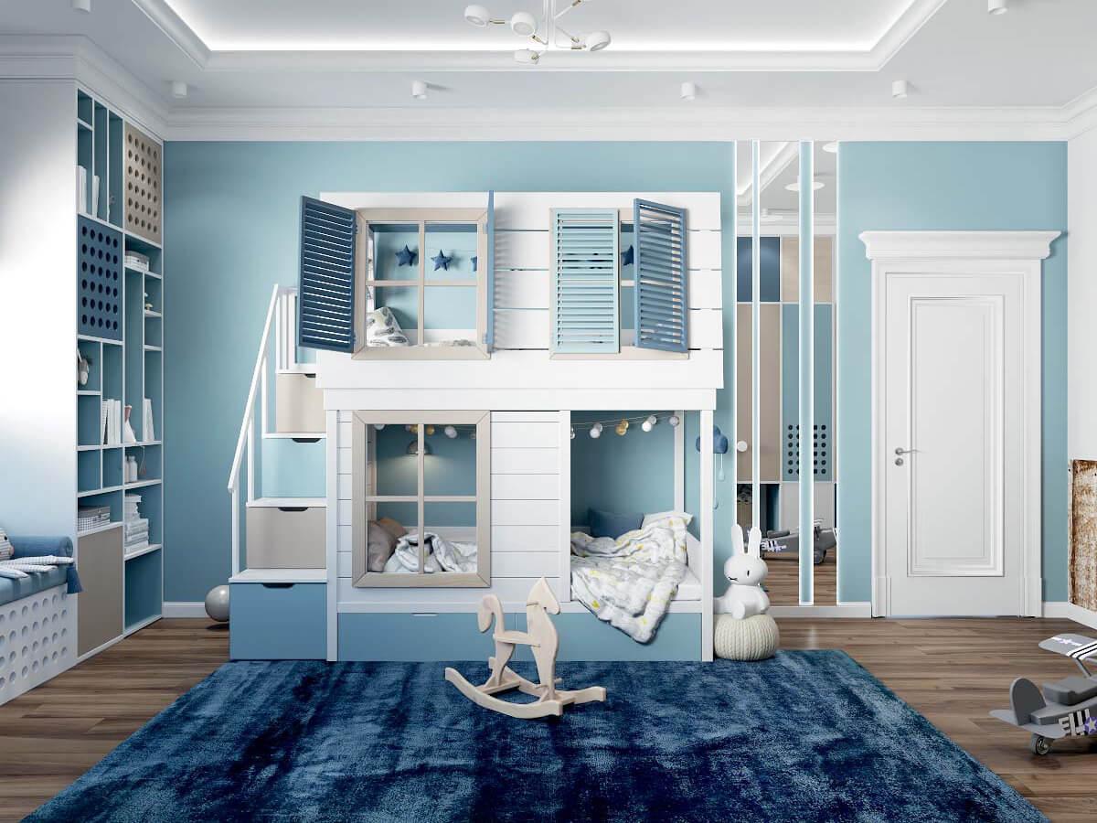 Мебель детской комнаты мальчика 3 лет проект 4051-2