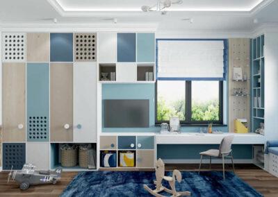 Мебель синего цвета в детскую комнату мальчика 3 лет — проект 4051