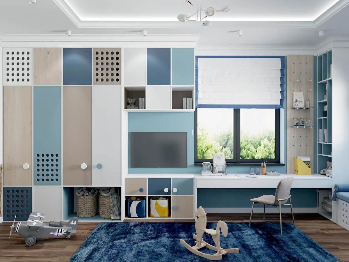 Мебель детской комнаты мальчика 3 лет проект 4051-4