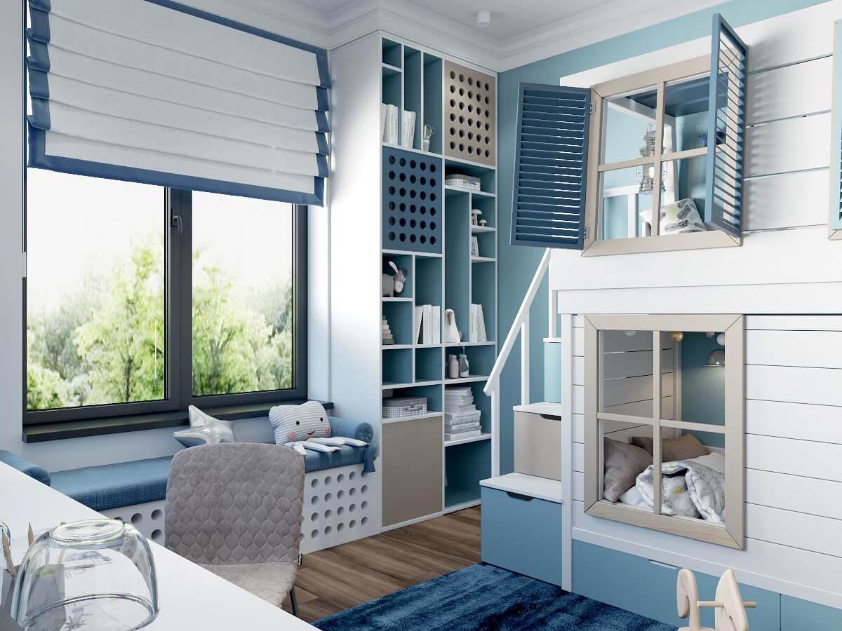 Мебель детской комнаты мальчика 3 лет проект 4051-5
