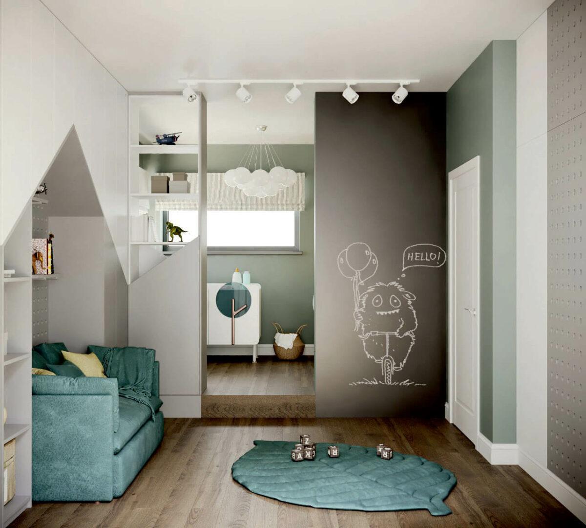 Мебель детской комнаты мальчика 5-9 лет проект 4697-1-1