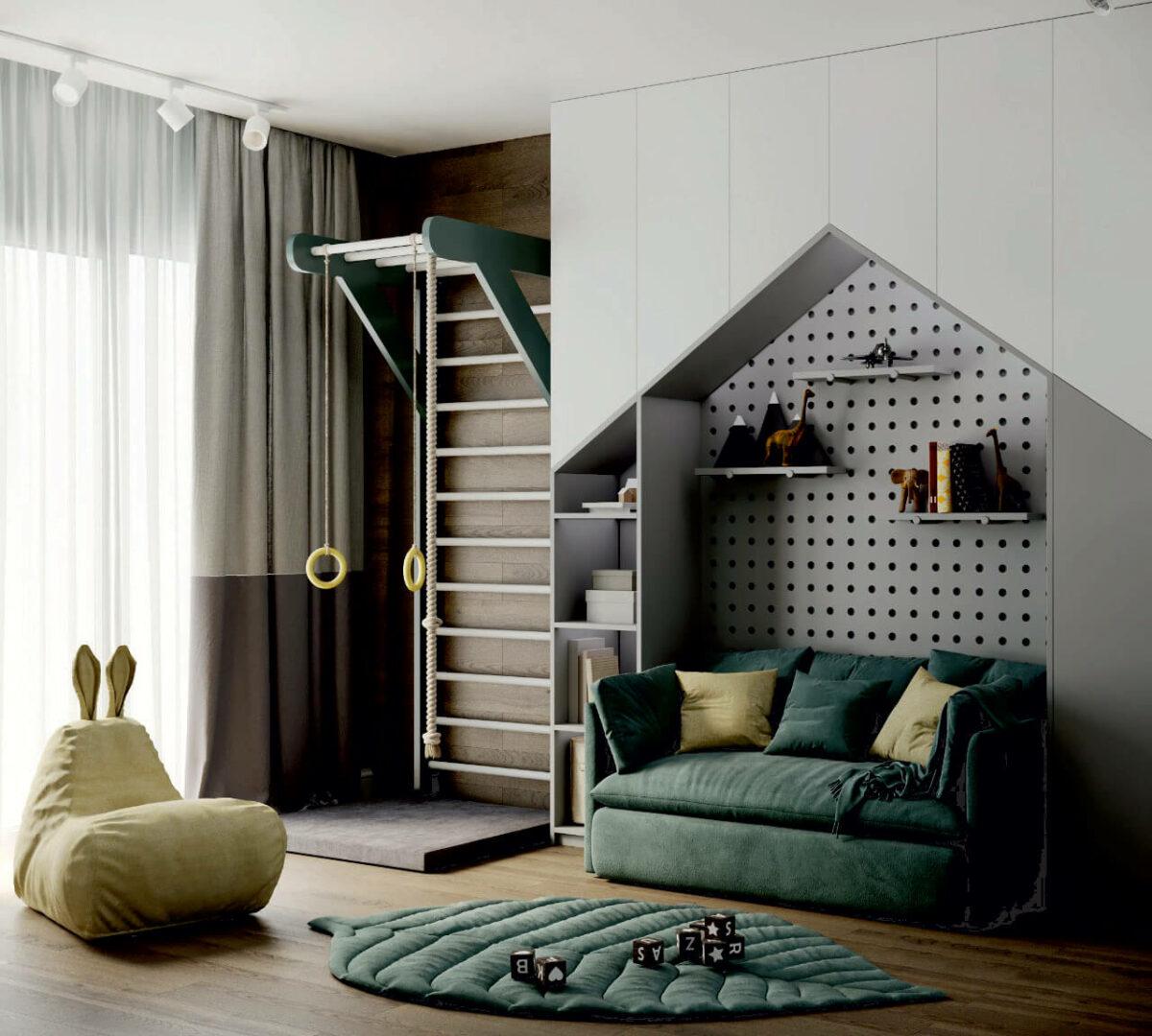 Мебель детской комнаты мальчика 5-9 лет проект 4697-1-4