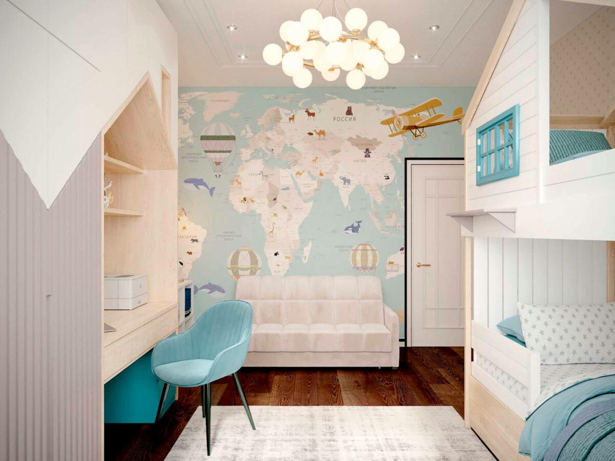 Мебель детской комнаты мальчика-школьника проект 3827-1
