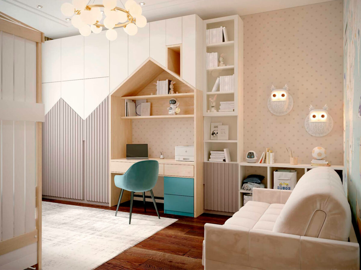 Мебель детской комнаты мальчика-школьника проект 3827-2