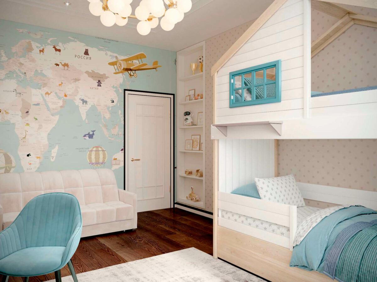 Мебель детской комнаты мальчика-школьника проект 3827-3