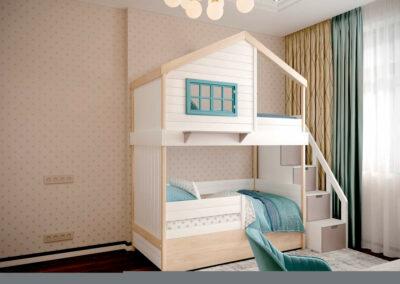 Удобная мебель в детскую комнату мальчика-школьника — проект 3827