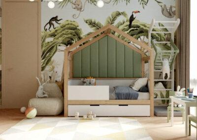 Мебель в светлых тонах для детской комнаты мальчика-школьника — проект 4047