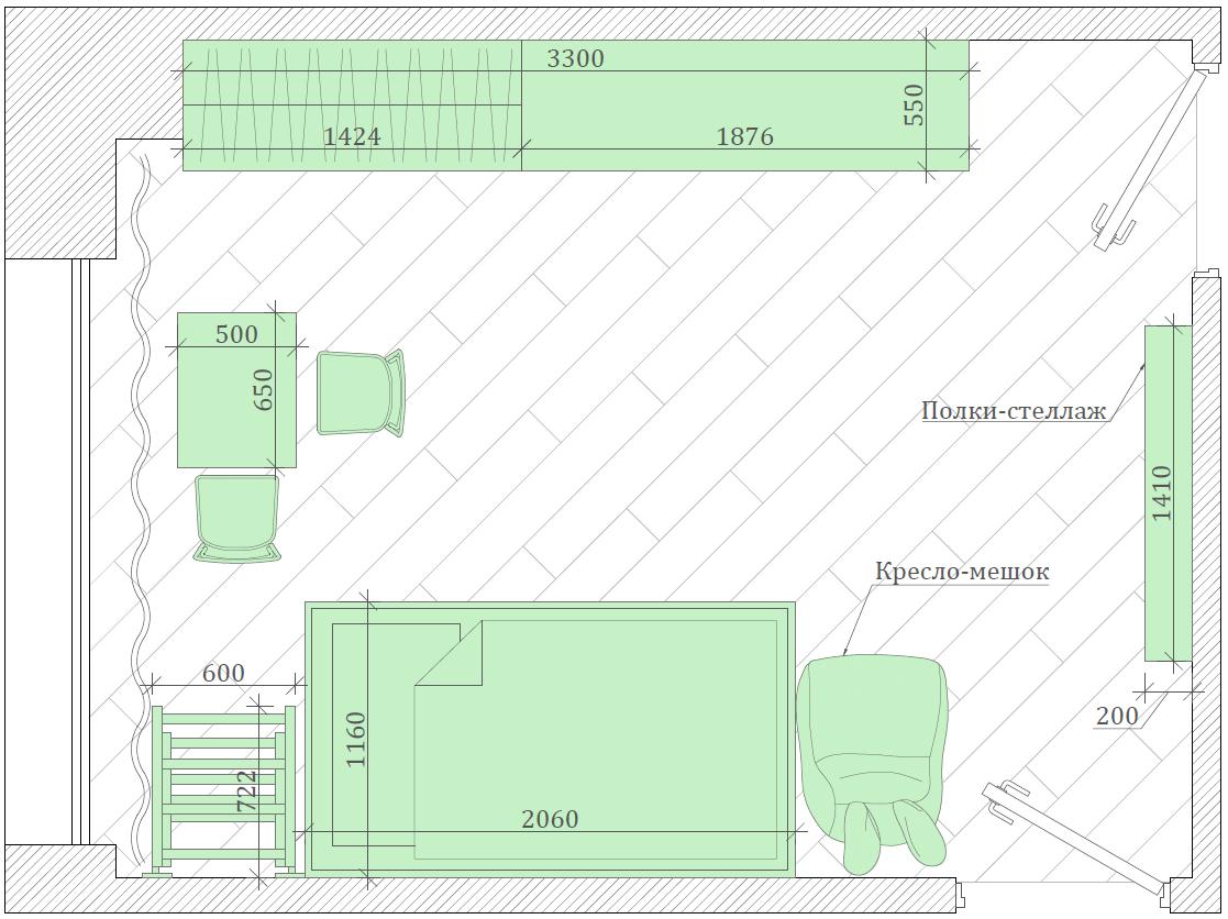 Мебель детской комнаты мальчика-школьника проект 4047-6