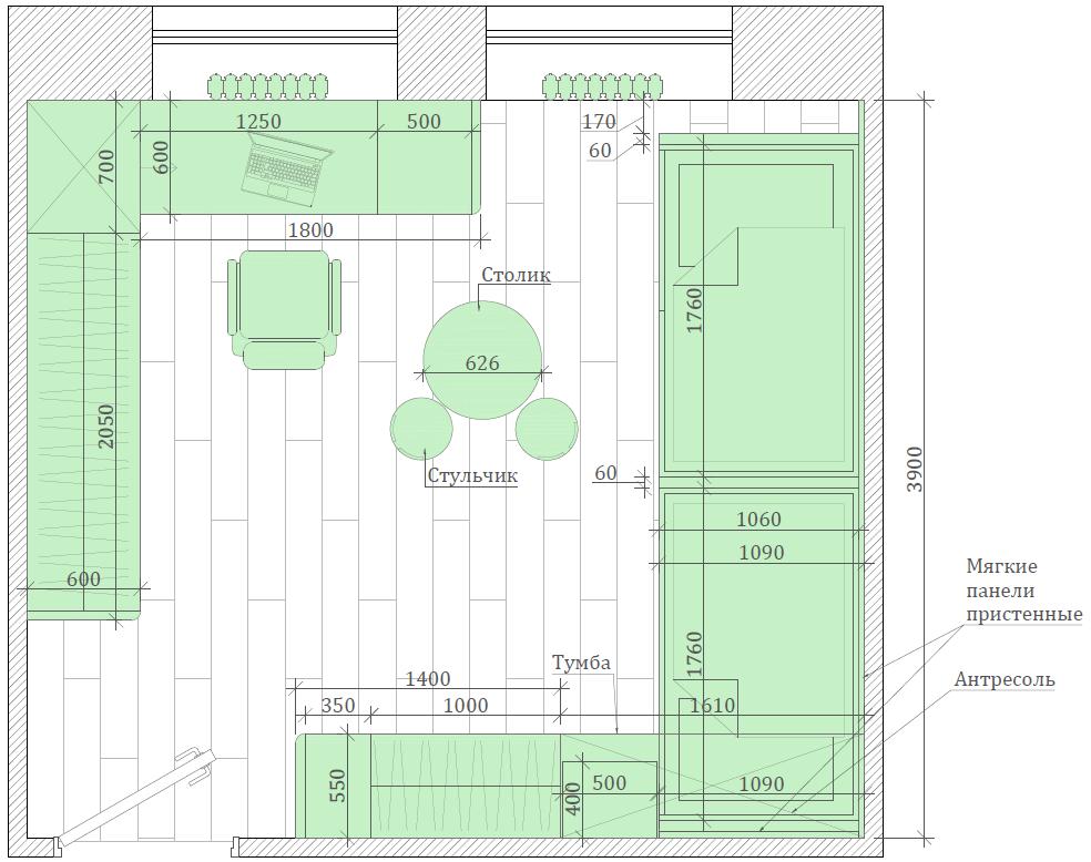 Мебель детской комнаты мальчиков-дошкольников проект 4275-5