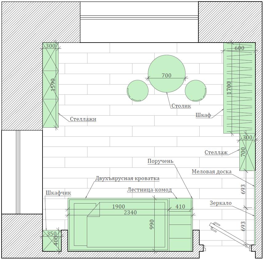 Мебель детской комнаты малышей проект 4049-2-7