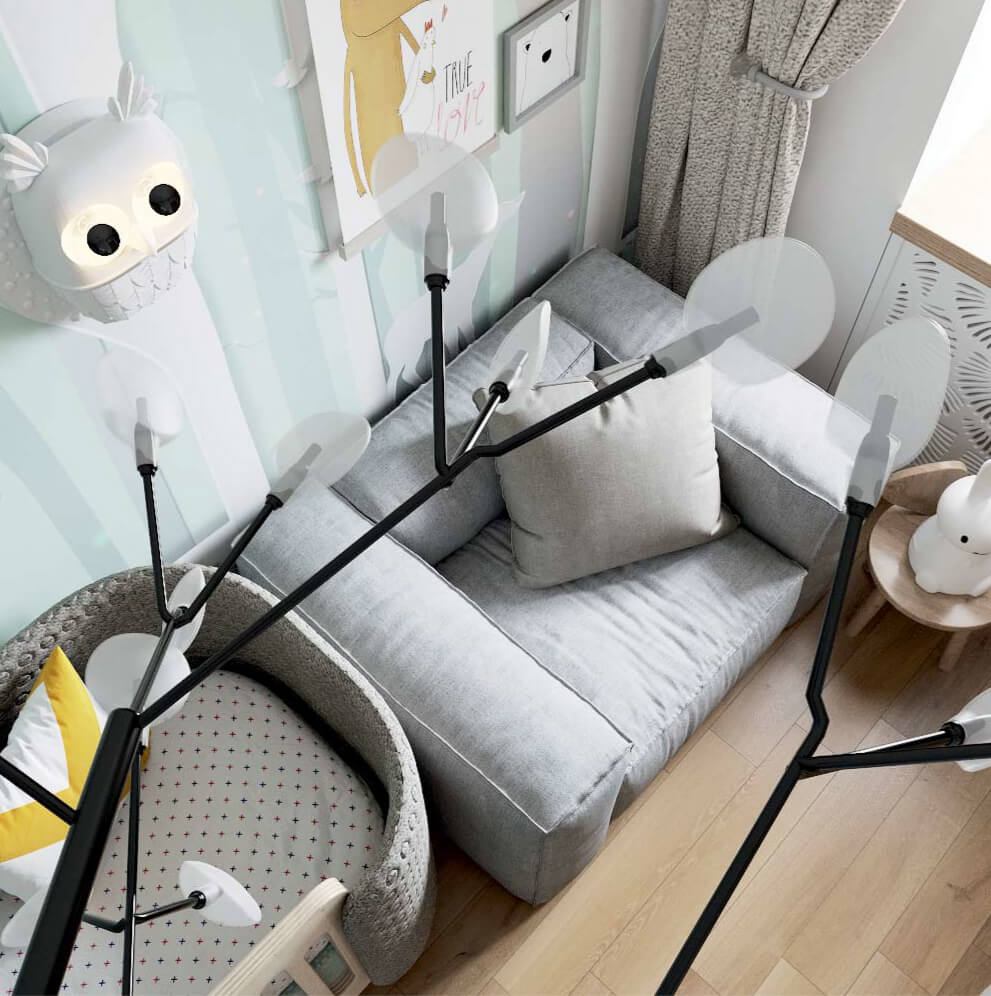 Мебель детской комнаты новорожденного проект 3089-6