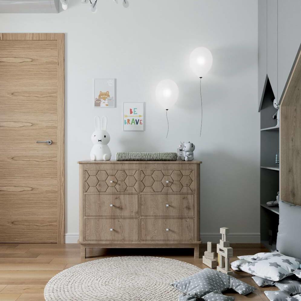 Мебель детской комнаты новорожденного проект 3089-7