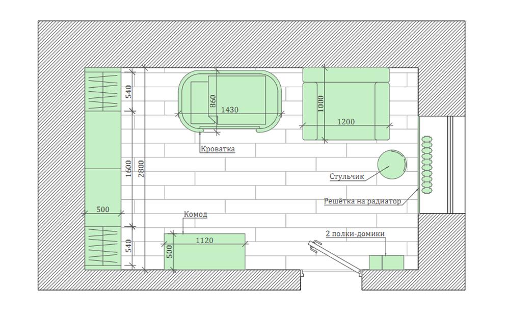 Мебель детской комнаты новорожденного проект 3089-8