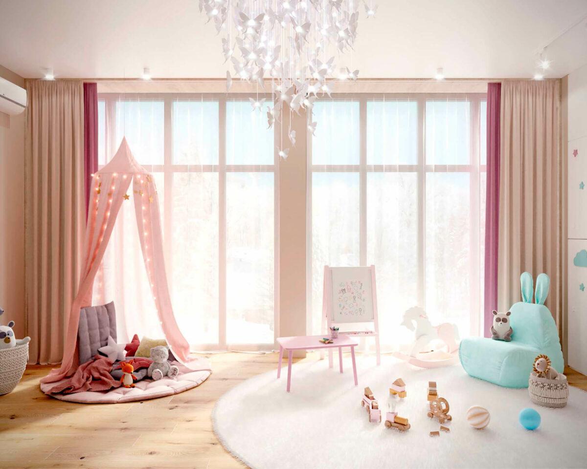 Мебель детской комнаты новорожденной девочки проект 4045-1