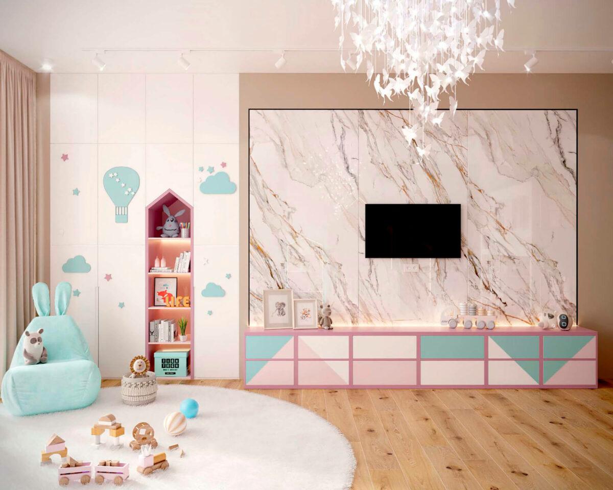 Мебель детской комнаты новорожденной девочки проект 4045-2