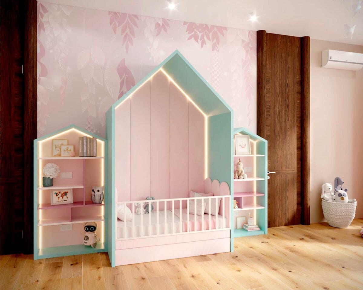 Мебель детской комнаты новорожденной девочки проект 4045-3