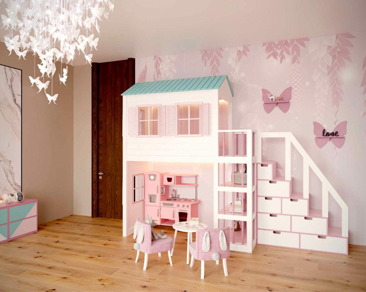 Мебель детской комнаты новорожденной девочки проект 4045-4