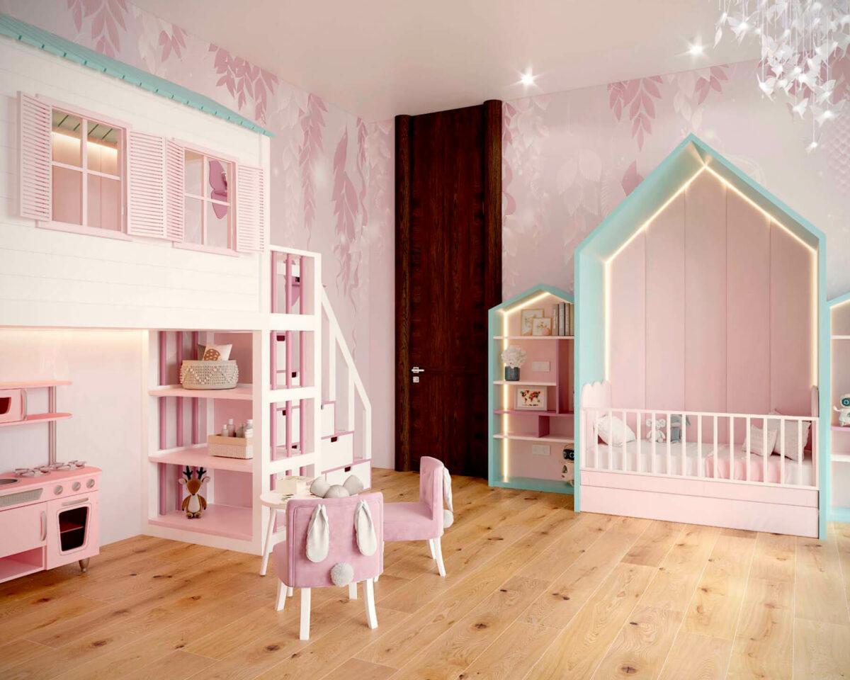 Мебель детской комнаты новорожденной девочки проект 4045-5
