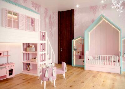 Нежно-розовая мебель в детскую комнату новорожденной девочки — проект 4045