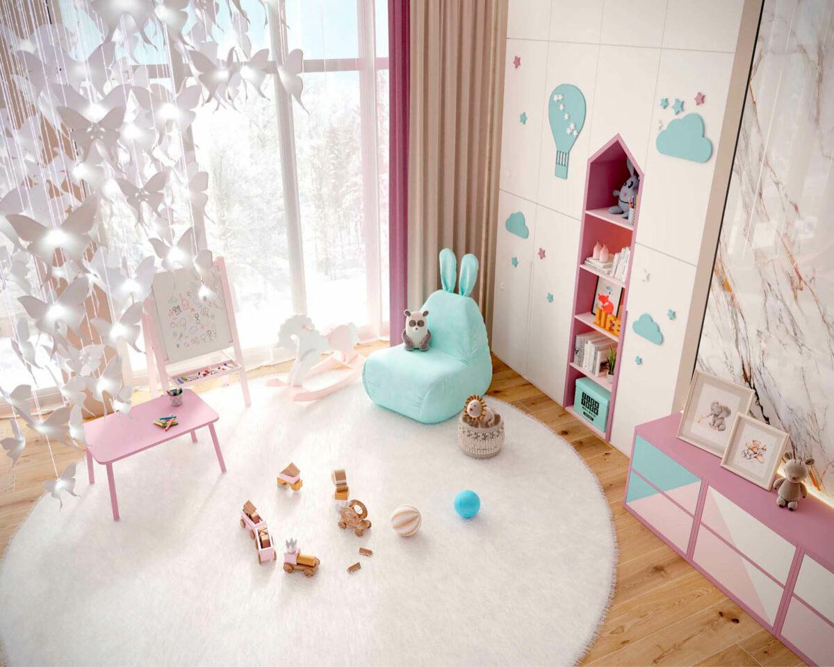 Мебель детской комнаты новорожденной девочки проект 4045-6