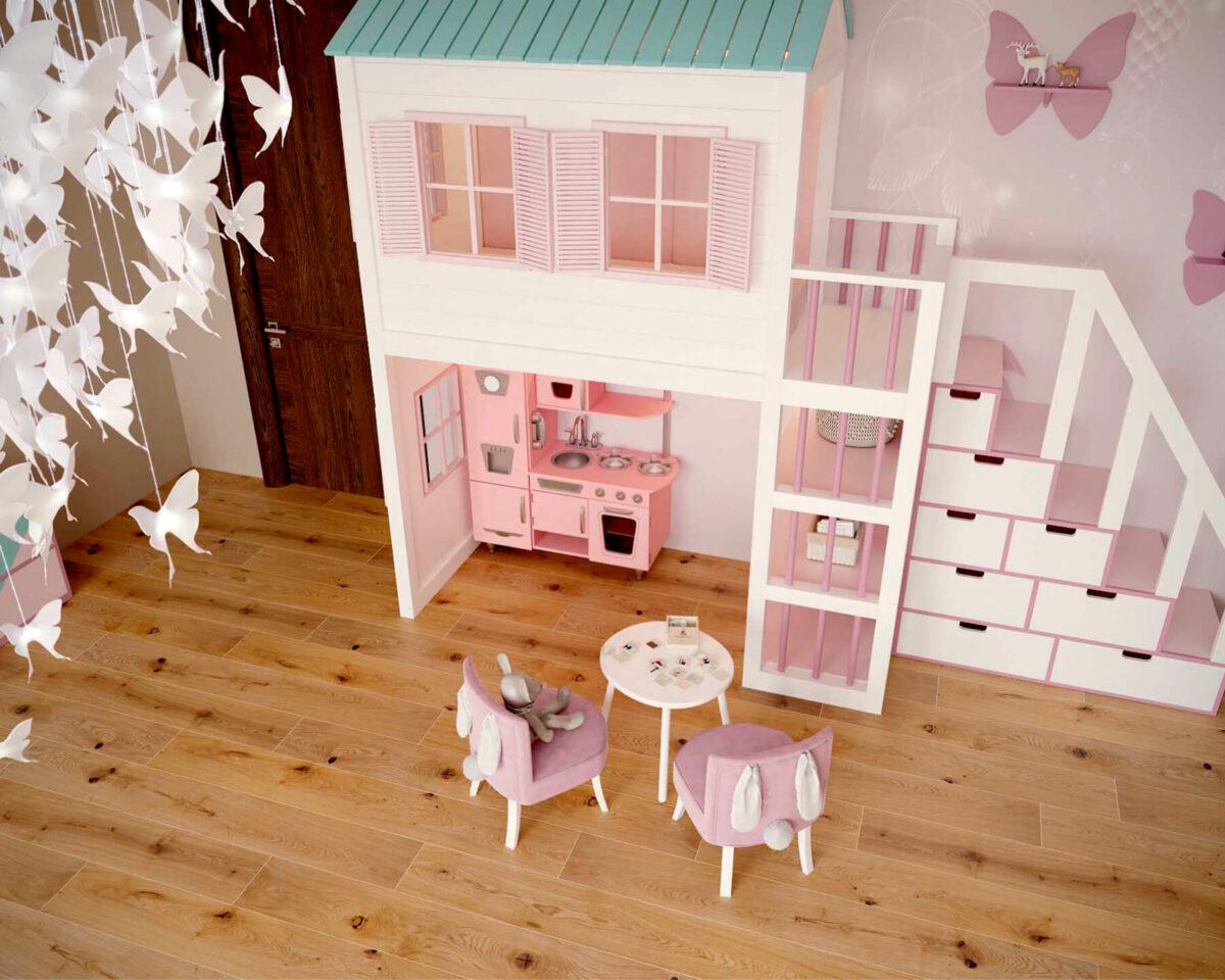 Мебель детской комнаты новорожденной девочки проект 4045-7