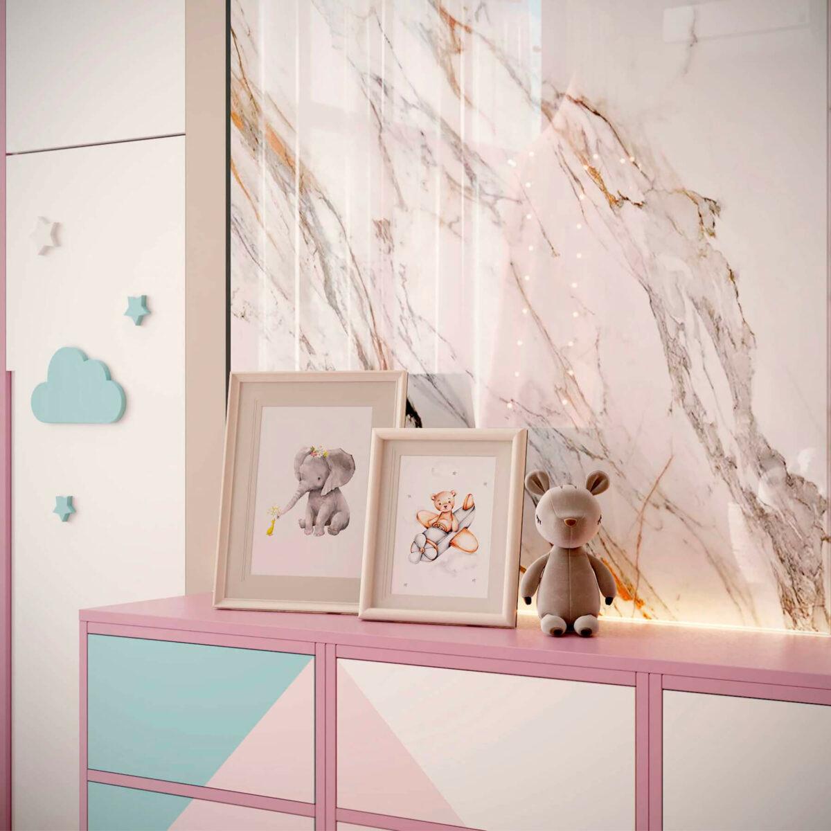 Мебель детской комнаты новорожденной девочки проект 4045-8