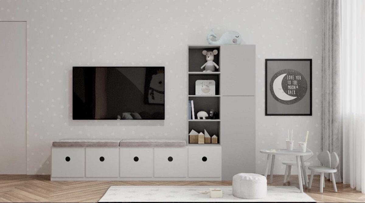 Мебель детской комнаты разнополых детей проект 3815-1
