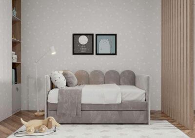 Мебель в светлых тонах для детской комнаты разнополых детей — проект 3815