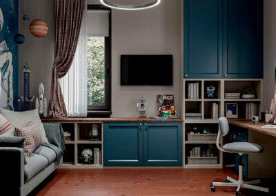 Мебель синего цвета в детскую комнату школьника-подростка — проект 5475