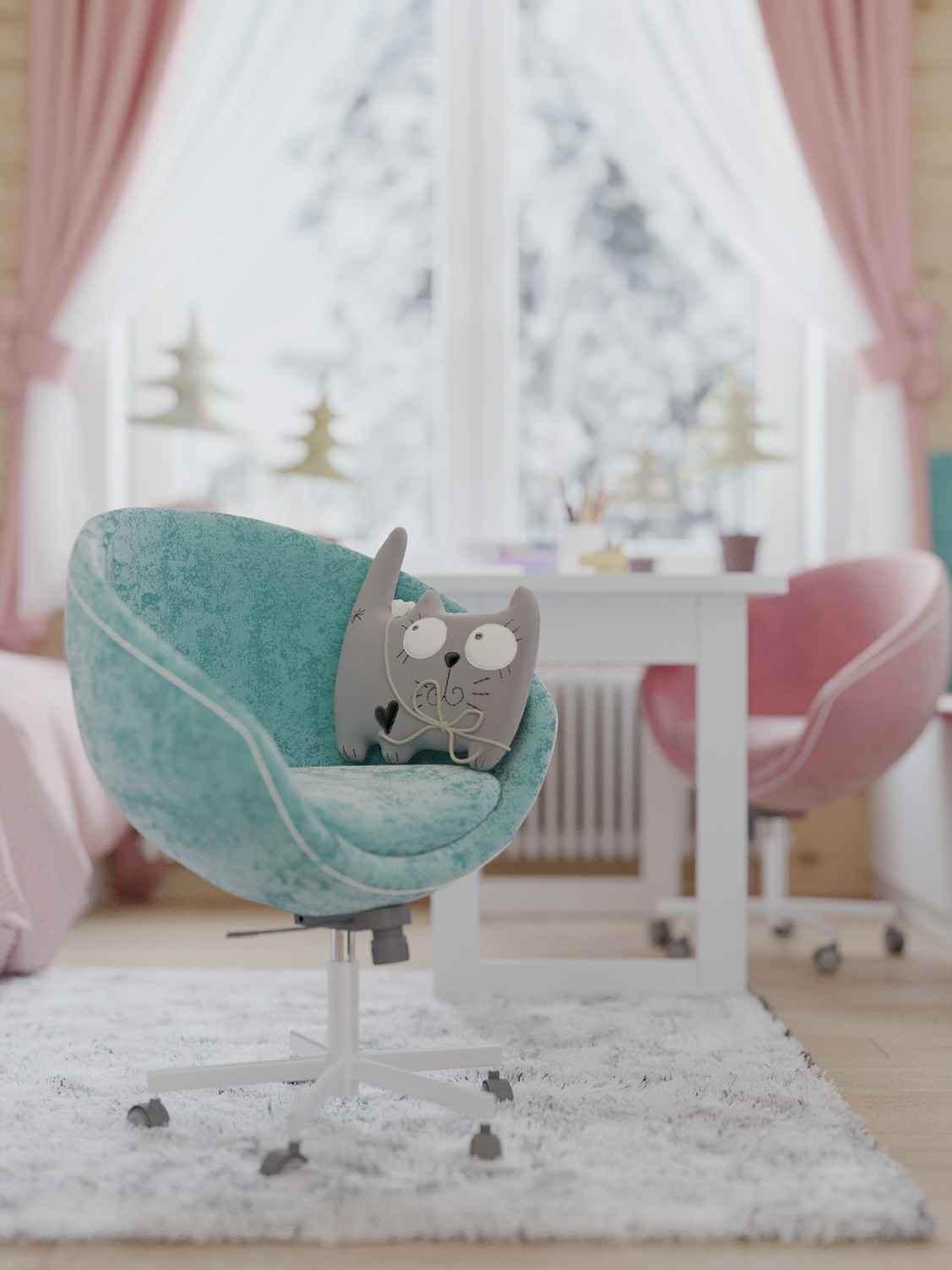 Мебель детской спальни 2 девочек проект 4023-10