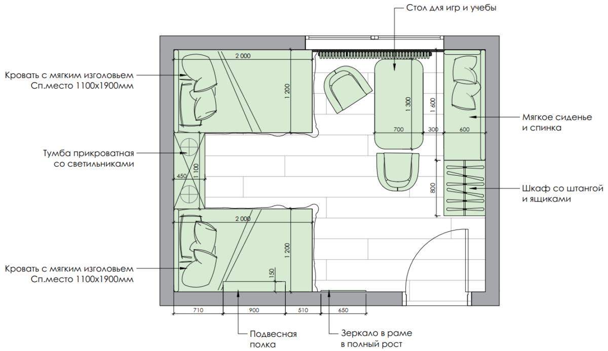 Мебель детской спальни 2 девочек проект 4023-11