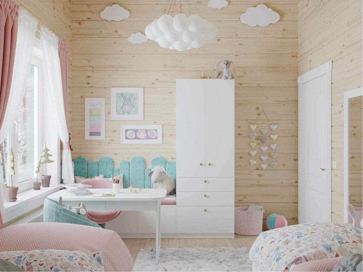 Мебель детской спальни 2 девочек проект 4023-4