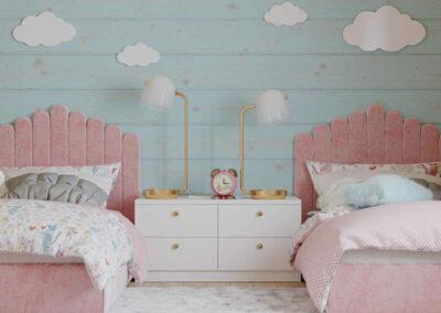 Мебель нежно-розового цвета для детской спальни 2 девочек — проект 4023