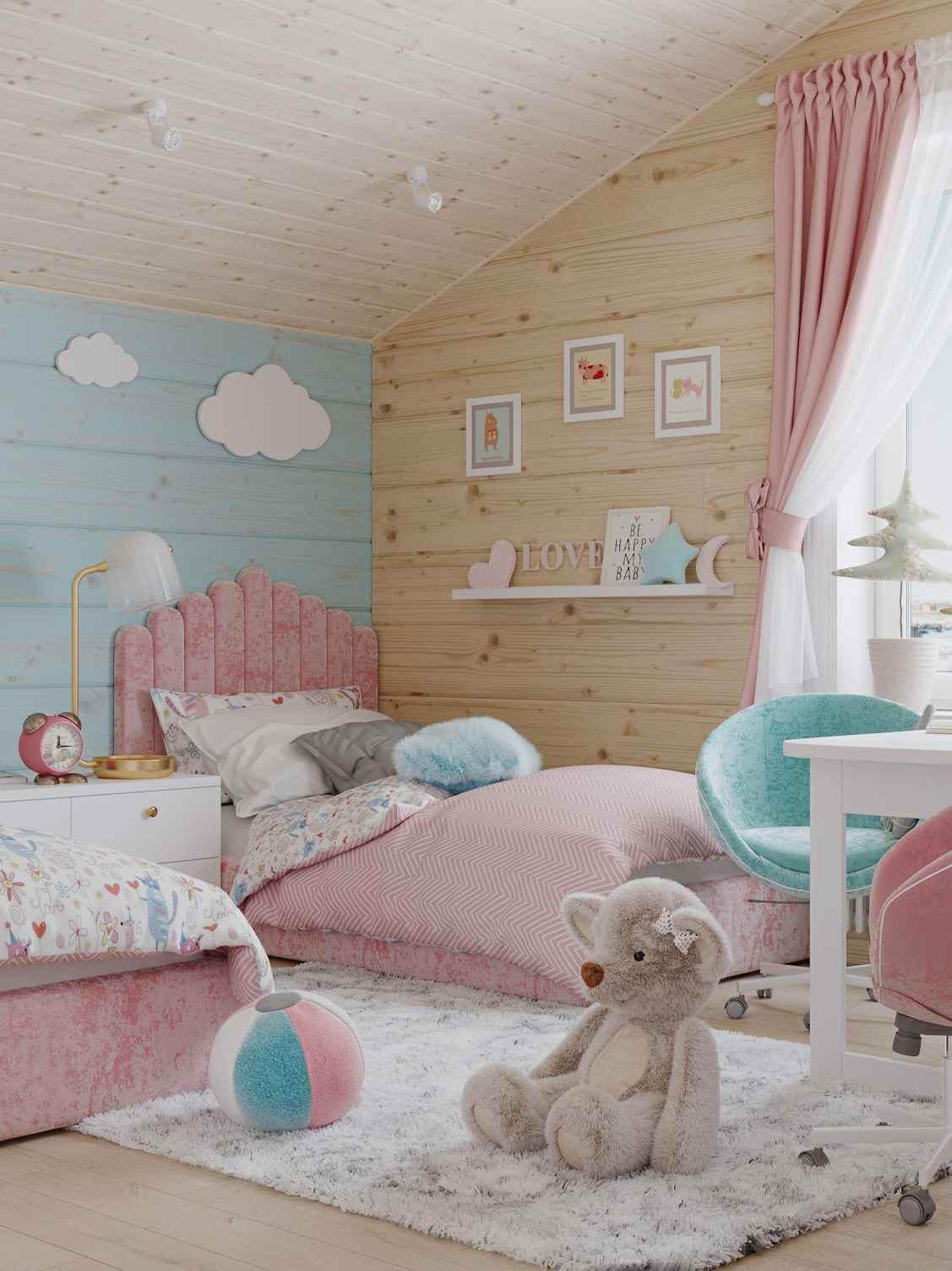 Мебель детской спальни 2 девочек проект 4023-8