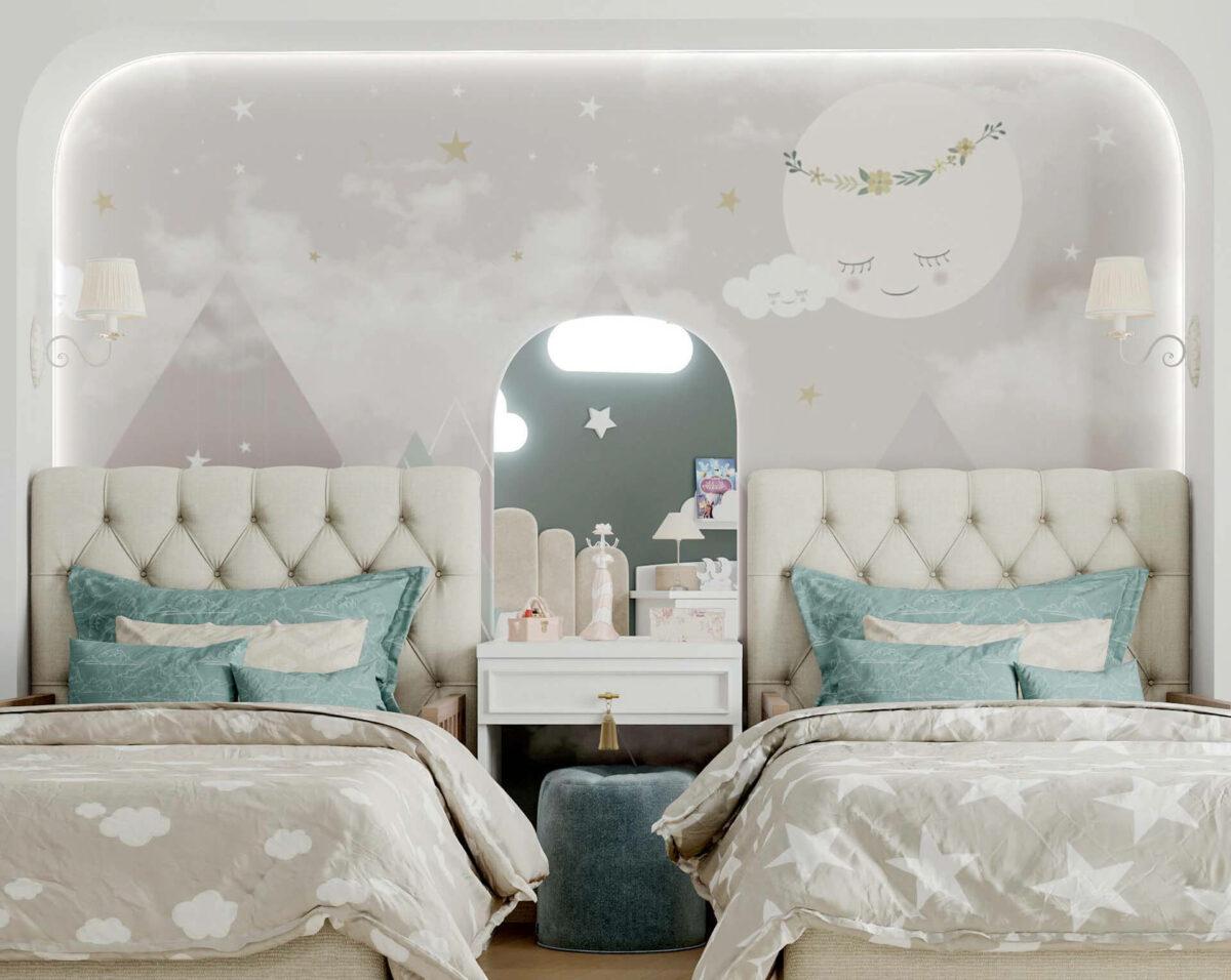 Мебель детской спальни 2 девочек проект 4263-3