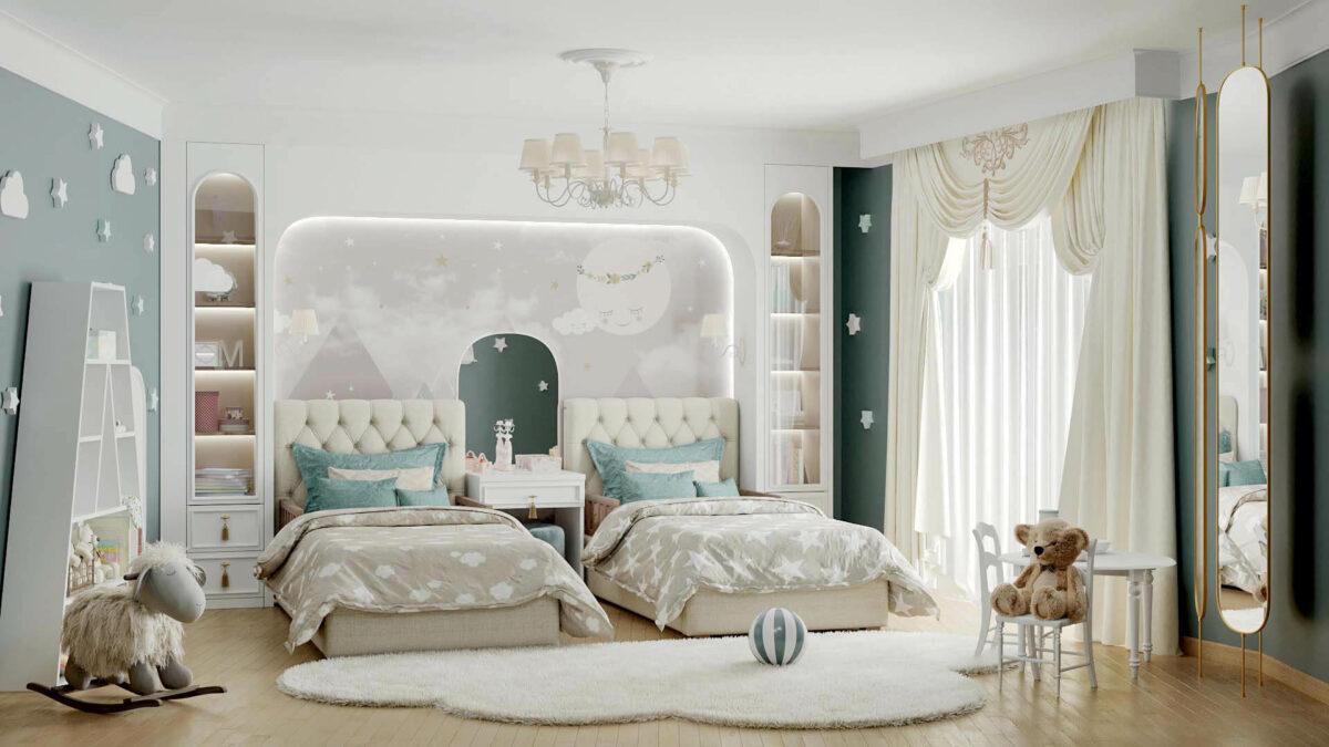 Мебель детской спальни 2 девочек проект 4263-5