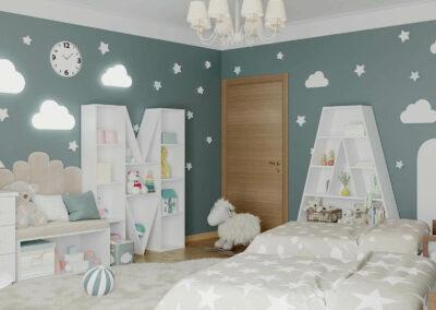Мебель в детскую спальню для 2 девочек разного возраста — проект 4263